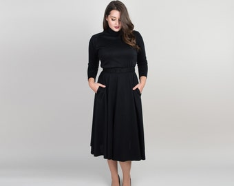 Vintage Black Knit Dress - 1980s Fit & Flare Dress - 80s Full Skirt Dress with Pockets and Long Raglan Sleeves - L