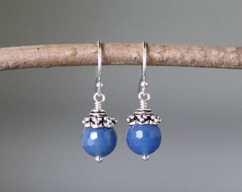 Onyx Earrings - Bali Silver Earrings - Onyx Jewelry - Blue Gemstone Earrings - Blue Onyx - Wire Wrapped Earrings Silver - Bridal Jewelry