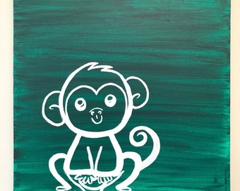 DEAL - Children's Monkey Painting // Infant Wall Decor // Baby room Art // Green Wall Decor // Cartoon Animal Gift // Baby Christmas Gift