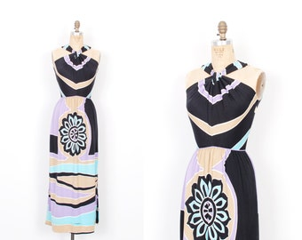 Vintage 1970s Dress / 70s Printed Jersey Maxi Dress / Black and Purple ( XS extra small )