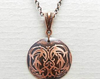 Etched Copper Leaping Dolphins Necklace