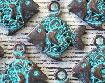 Mykonos Green Patina Fish Pendant - Beads For Jewelry Making - Sea Life Jewelry Findings And Parts Charm - Choose Amount