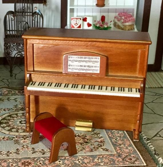 Miniature Piano, Upright Walnut Wood Piano With Stool, Dollhouse Miniature Furniture, 1:12 Scale, Mini Piano, Miniature Stool, Music