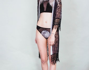 Errant Ways - Grey velvet and black lace kimono - 70s style boho rock