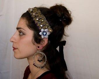 Gold, Silver n Purple Tribal Fusion Headpiece - Tribal Bellydance headdress, Steampunk, hair ornament headband avant garde kuchi