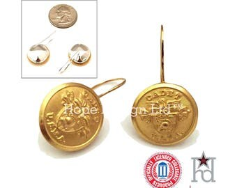 USMA Cadet Uniform Button French Ear Wire Earrings, In Stock, Ready to Ship, US Patriotic Mom Aunt Girlfriend West Point Jewelry Gift Ideas