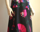 flower power long halter 70s vintage dress