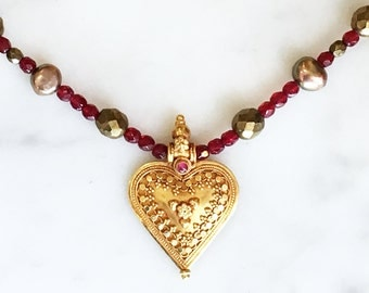Vintage 90s Heart Necklace Red and Gold Bead Choker Vintage Jewelry