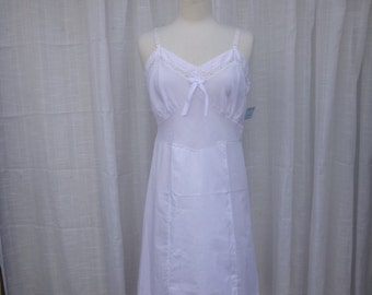 Slip Dress 36/38 M/L White Dove Glam Garb Handmade USA Romantic Honeymoon Victorian Steam-punk Full-Slip Vintage Retro Nightgown Mori Boho