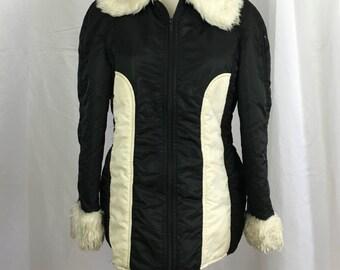Vintage 70's Ski Jacket - Black & White