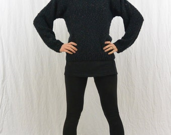 Vintage Fuzzy Black Sweater with Flicks of Color, Size XS-Small, Hipster, Cozy, Quirky, Indie Clothing, 80's, Punk
