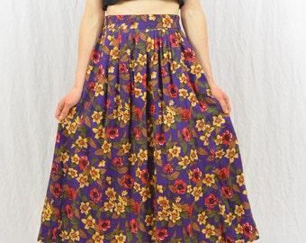Vintage Floral Midi Skirt, Size XS-Small, High Waisted, 90's Clothing, Tropical Print, Seapunk, Quirky, Rad, Tumblr Clothing, Hawaiian Print