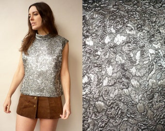 1960's Vintage Silver Disco Metallic Brocade Top Size Large
