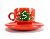 Vintage Holiday Coffee Mug Holiday Coffee Cup & Saucer Red and Green Waechtersbach Christmas Tree Teachers Gift Under 15