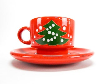Vintage Holiday Coffee Mugs Coffee Cups & Saucers Red and Green Waechtersbach Christmas Tree Gift Under 15