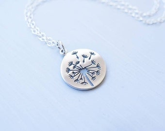 Necklace, Dandelion Necklace, Wish Necklace, Silver Necklace, Charm Necklace, Handmade Necklace, Gift for Her, Bridesmaid Necklace, Gift
