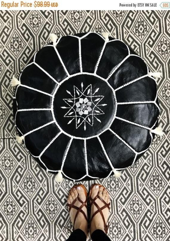 Black with White Stitching Moroccan Leather Pouf with Tassels & Pompoms >> for Home gifts, wedding gifts,birthday gi