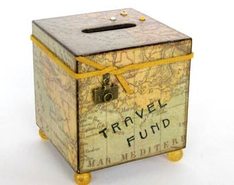 Travel Coin Bank Vintage Style World Map Decoupaged Wood Square Vacation Savings Bank Piggy Bank Green Yellow
