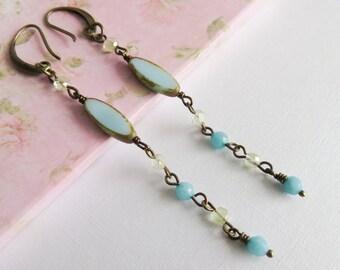 Long bohemian earrings, blue dangle earrings, boho chic jewelry, gift for her, bronze jewelry