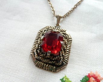 Signed Vintage Faux Ruby Necklace Sarah Coventry 1960s