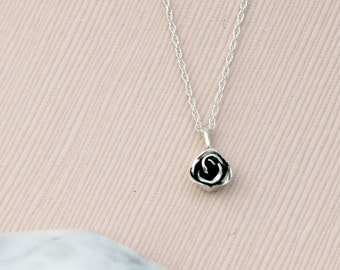 SOLID Sterling Silver Rose Pendant with Chain