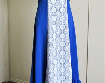 Bright Blue 1970s Electric Boho Maxi Dress with Double Knit Polyester and White Lace Size M/L