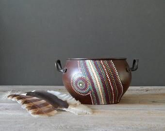 hand painted vintage copper planter pot  small decorative metal pot   dot paint art   rustic modern decor