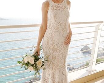 Boho Chic Wedding Dress, Boho Lace Wedding Dress, Halter Neckline Wedding Dress, Keyhole Back Wedding Dress