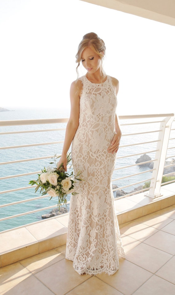 Boho Lace Wedding Dress Etsy : Wedding dress boho lace halter neckline