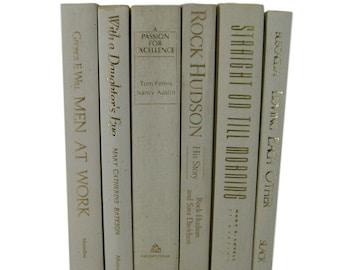 Beige Ivory Decorative Books, Wedding Decor, Country Decor, Vintage Home Decor, Old Books, Book Stack, Photo Prop, Book Prop, White Decor