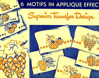 Superior Embroidery Transfers 140 FRUITS VEGETABLES Cross Stitch for Kitchen Towels