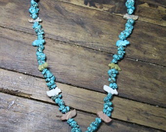 """Turquoise Chunk Necklace Silk Knotted With Fetish Animal Pendants Hand Carved 20"""""""
