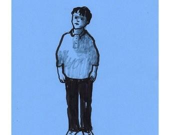 Boy child drawing illustration portrait sketch art original blue line black figurative people