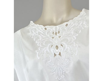 Vintage 80s Floral Embroidered Blouse • Edwardian Style White Blouse • Cutwork Embroidery Top • 1980s Secretary Blouse • Plus Size Blouse