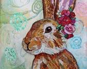 Woodland Rabbit - 11 X 14 Print - Paper Collage - Paper Art - Rabbit Art - Nursery Art - Nursery Decor - Woodland Animals - Lisa Morales