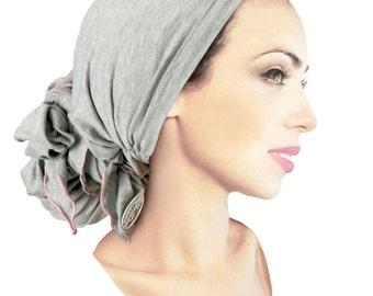 Gray Pink Head Scarf Soft Cotton Lightweight Pre-Tied Boho Chic Bandana Tichel Hair Snood Chemo Hat Handmade ShariRose Decorative Over-Lock