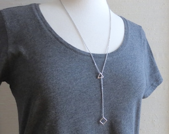 Scala - Tiny Geometric Y Necklace; Silver or Gunmental; Triangle and Square Geo Pendants; Lariat Math Jewelry (Collier Géo) by InfinEight