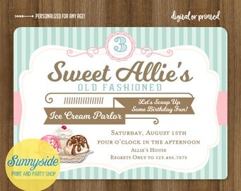Girls Ice Cream Birthday Party Invitation // Old Fashioned Ice Cream Parlor // Printable or Printed invitations // any age!