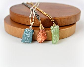 Raw Stone Necklace, Sunstone Necklace, Blue Kyanite Necklace, Green Kyanite Necklace, Your Choice, Rough Gemstone Necklace Satellite Chain