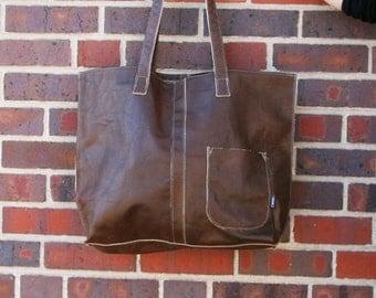 Dark Brown- Large Tote Bag-ready to ship--upcyled-leather-cwinn-denver gift-handmade-cwinn designs
