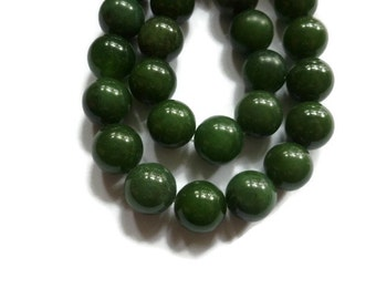 Green Quartz - 12mm Round Bead - Full Strand - 35 beads - dark green - forest - evergreen - stone - moss