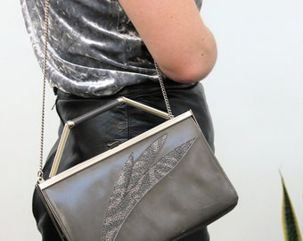 Gina Grey Leather Evening Bag