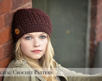 Crochet Pattern / The Vee Beanie Pattern 034 / Crochet Hat Pattern / Womens Beanie Hat  / Chunky Beanie / Fall Fashion /  Winter Beanie Hat