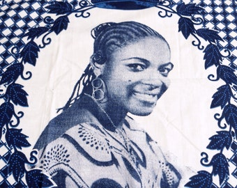 Vintage Female African Portrait Cloth, Commemorative Cloth, Kanga, Pagne, mystery subject