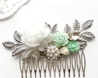 Mint Green Silver Hair Comb Soft Pastel Wedding Customised Bridal Hair Slide Leaf Hair Pin Bridesmaid Gift Personalise Design
