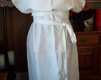 Roman Peplos (Lady's Dress) - White Linen with Bronze Button Closures and Sash
