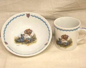 """Vintage 1973 """"Table Talk"""" Cereal Soup Bowl & Mug Set Child w/ Scotty Dog WWA World Wide Arts Japan Porcelain"""