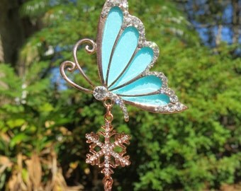 SPARKLE BLUE BUTTERFLY Tree Jewelry Ornament Aqua