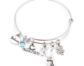 Gymnastics Gifts, Gymnastics Bracelet, Gymnastics Jewelry, Gymnastics Bangle, Gymnast Gift, Gymnast Bracelet, Gymnast Jewelry