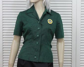 Vintage Girl Scout Blouse 1950s Size Small Green Uniform Top